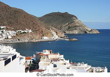 Beautiful Mediterranean seaside town. San Jose in Cabo de Gata natural park near Almeria, Spain.