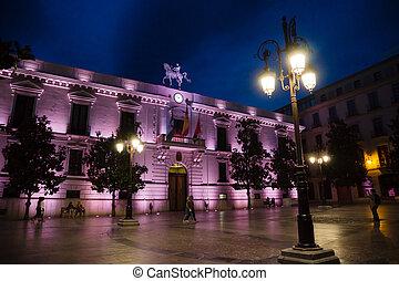 Granada historic center at night