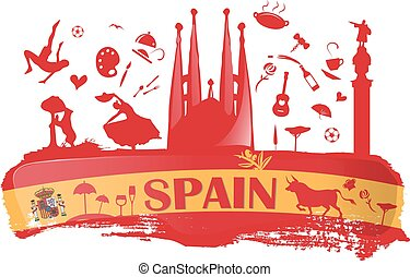 spain background with flag and symbol