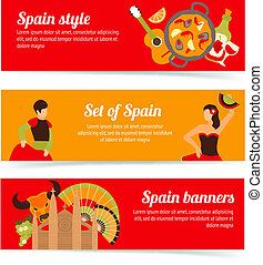 Spain banners set - Spain travel spanish style culture wine...