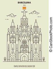 spain., barcellona, tempio, punto di riferimento, icona,...