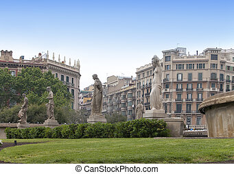 Spain. Barcelona. Fountain in placa de Catalunya