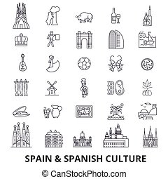 Spain, barcelona, madrid, spanish, flamenco, mediterrian line icons. Editable strokes. Flat design vector illustration symbol concept. Linear signs isolated