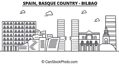 Spain, Bilbao, Basque Country architecture line skyline...