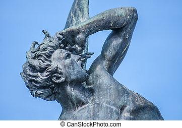 spain., caído, fuente, ángel, madrid