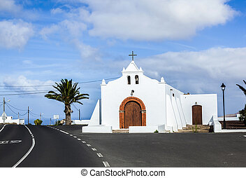 Spain Canary Islands Lanzarote pretty whitewashed chapel