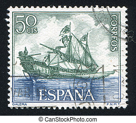 Galley - SPAIN - CIRCA 1964: stamp printed by Spain, shows ...