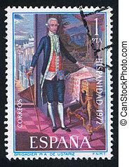 SPAIN - CIRCA 1972: stamp printed by Spain, shows Brigadier M.A. de Ustariz, circa 1972