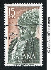 portrait of Emilia Pardo Bazan - SPAIN - CIRCA 1972: stamp...