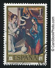 SPAIN - CIRCA 1977: stamp printed by Spain, shows Annunciation (Luis de Morales), circa 1977