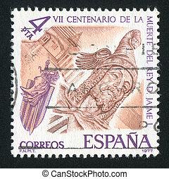 King James I - SPAIN - CIRCA 1977: stamp printed by Spain,...