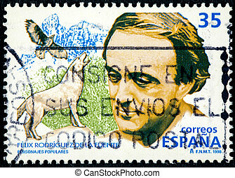 SPAIN - CIRCA 1998: a stamp printed in the Spain shows From the series famous people, a Felix Rodrigues de la Fuente, circa 1998
