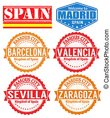 Spain cities stamps
