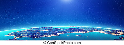 Spain city lights. Elements of this image furnished by NASA...