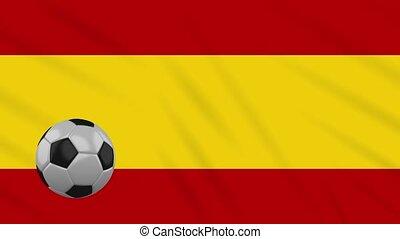 Spain civil flag waving and football rotates, loop - Spain...