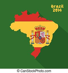 Spain - abstract Spain flag on abstract Brazil map