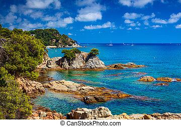 Spain coast with rocks.