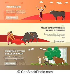 Spain Corrida and Running of the Bulls concept vector illustration. Bull, matador