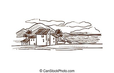 Spain countrisyde landscape with mountains white vector...
