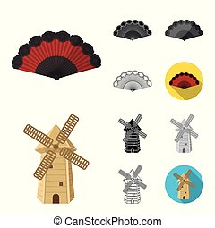 Spain country cartoon, black, flat, monochrome, outline icons in set collection for design. Travel and attractions vector symbol stock web illustration.