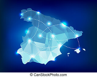 Spain country map polygonal