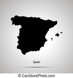Spain country map, simple black silhouette on gray