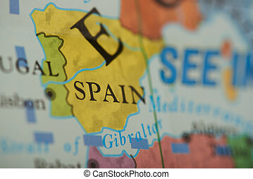 Spain country on paper map