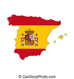 Spain country silhouette with flag on background, isolated...