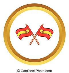 Spain crossed flag vector icon