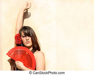 spain culture, spanish flamenco dancer with fan