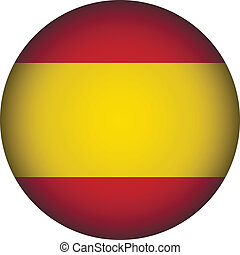 Spain flag button. - Spain flag button on a white...