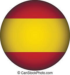 Spain flag button. - Spain flag button on a white...