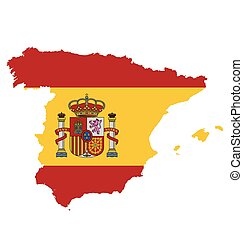 Spain Flag - Flag with coat of arms of the Kingdom of Spain...