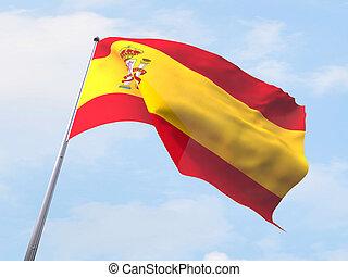 Spain flag flying on clear sky.