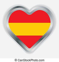 Spain Flag Heart Glossy Button