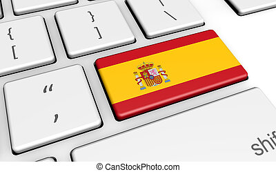 Spain Flag On Computer Keyboard