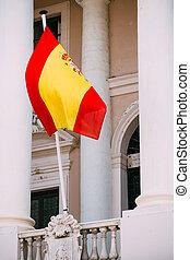 Spain Flag On Facade Of An Old Building
