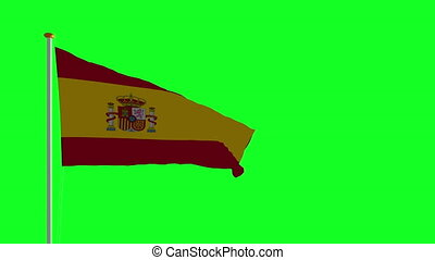 Spain flag on green screen
