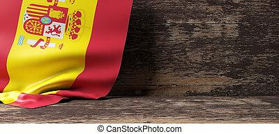 Spain flag on wooden background. 3d illustration