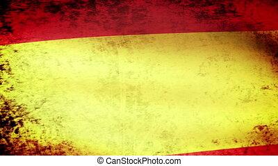 Spain Flag Waving, grunge look