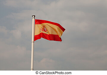 Spain flag waving on a mast