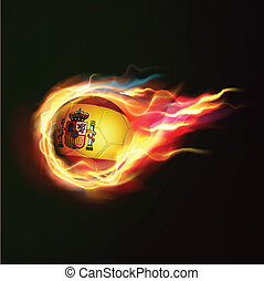 Spain flag with flying soccer ball on fire isolated black background, vector illustration