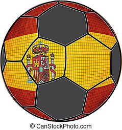 Spain flag with soccer ball background - Illustration,...