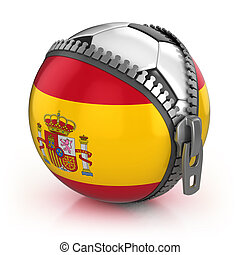 Spain football nation - football in the unzipped bag with...