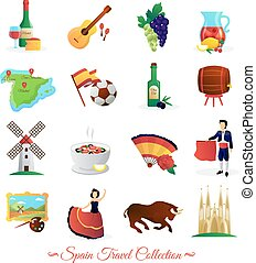 Spain For Travelers Cultural Symbols Set - Tourists ...