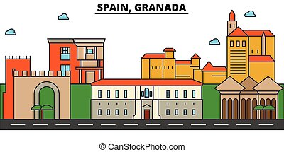 Spain, Granada. City skyline architecture, buildings, streets, silhouette, landscape, panorama, landmarks. Editable strokes. Flat design line vector illustration concept. Isolated icons set