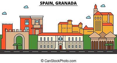 Spain, Granada. City skyline architecture, buildings,...
