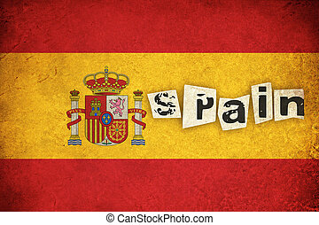 Spain grunge flag illustration of european country with text