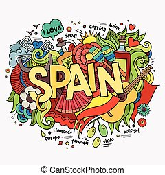 Spain hand lettering and doodles elements background. Vector...