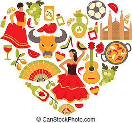 Spain heart print - Decorative spain cultural traditions...